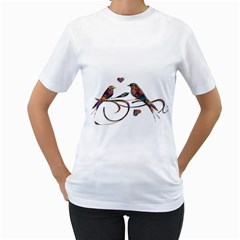 Birds Abstract Exotic Colorful Women s T Shirt (white) (two Sided)