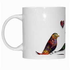 Birds Abstract Exotic Colorful White Mugs