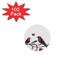 Birds Abstract Exotic Colorful 1  Mini Buttons (100 Pack)