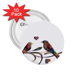 Birds Abstract Exotic Colorful 2 25  Buttons (10 Pack)