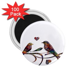 Birds Abstract Exotic Colorful 2 25  Magnets (100 Pack)