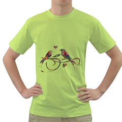 Birds Abstract Exotic Colorful Green T-Shirt