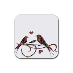 Birds Abstract Exotic Colorful Rubber Coaster (square)
