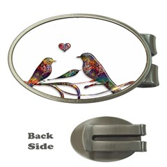 Birds Abstract Exotic Colorful Money Clips (oval)