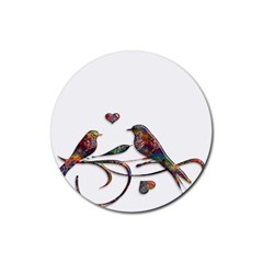 Birds Abstract Exotic Colorful Rubber Round Coaster (4 pack)