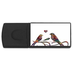 Birds Abstract Exotic Colorful USB Flash Drive Rectangular (1 GB)