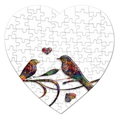 Birds Abstract Exotic Colorful Jigsaw Puzzle (heart)