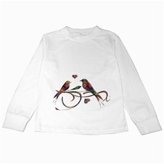Birds Abstract Exotic Colorful Kids Long Sleeve T Shirts