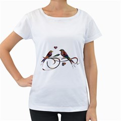 Birds Abstract Exotic Colorful Women s Loose Fit T Shirt (white)