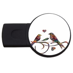 Birds Abstract Exotic Colorful Usb Flash Drive Round (4 Gb)