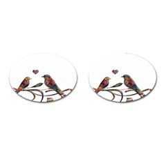 Birds Abstract Exotic Colorful Cufflinks (oval)