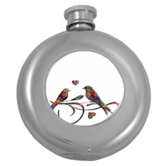 Birds Abstract Exotic Colorful Round Hip Flask (5 oz)