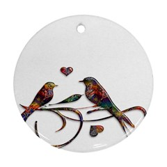 Birds Abstract Exotic Colorful Round Ornament (two Sides)