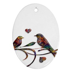 Birds Abstract Exotic Colorful Oval Ornament (two Sides)