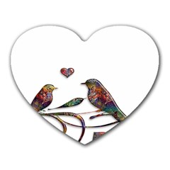 Birds Abstract Exotic Colorful Heart Mousepads