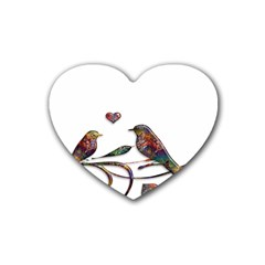 Birds Abstract Exotic Colorful Heart Coaster (4 Pack)