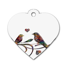 Birds Abstract Exotic Colorful Dog Tag Heart (Two Sides)