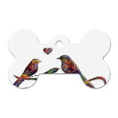 Birds Abstract Exotic Colorful Dog Tag Bone (One Side)