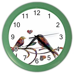 Birds Abstract Exotic Colorful Color Wall Clocks