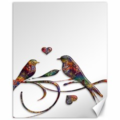 Birds Abstract Exotic Colorful Canvas 11  x 14
