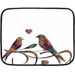 Birds Abstract Exotic Colorful Double Sided Fleece Blanket (mini)