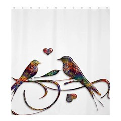 Birds Abstract Exotic Colorful Shower Curtain 66  x 72  (Large)
