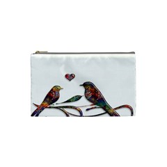 Birds Abstract Exotic Colorful Cosmetic Bag (small)