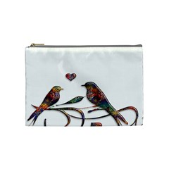 Birds Abstract Exotic Colorful Cosmetic Bag (Medium)