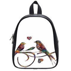 Birds Abstract Exotic Colorful School Bags (Small)