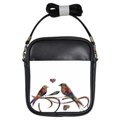 Birds Abstract Exotic Colorful Girls Sling Bags