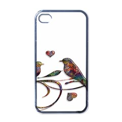Birds Abstract Exotic Colorful Apple iPhone 4 Case (Black)