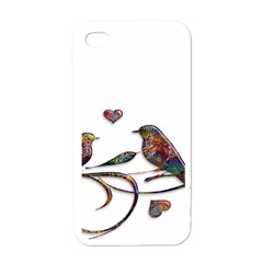 Birds Abstract Exotic Colorful Apple Iphone 4 Case (white)
