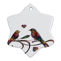 Birds Abstract Exotic Colorful Snowflake Ornament (Two Sides)