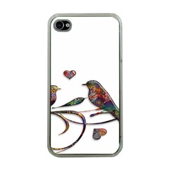 Birds Abstract Exotic Colorful Apple Iphone 4 Case (clear)