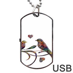 Birds Abstract Exotic Colorful Dog Tag Usb Flash (two Sides)