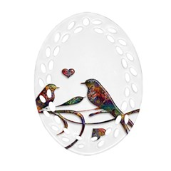 Birds Abstract Exotic Colorful Ornament (Oval Filigree)
