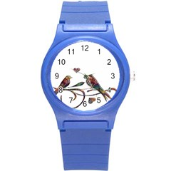 Birds Abstract Exotic Colorful Round Plastic Sport Watch (s)