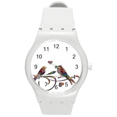 Birds Abstract Exotic Colorful Round Plastic Sport Watch (m)