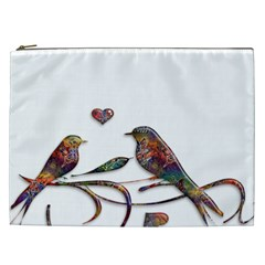 Birds Abstract Exotic Colorful Cosmetic Bag (xxl)