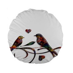 Birds Abstract Exotic Colorful Standard 15  Premium Round Cushions