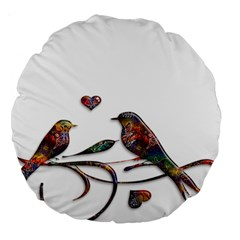 Birds Abstract Exotic Colorful Large 18  Premium Round Cushions