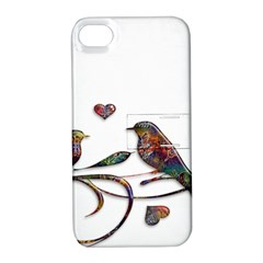 Birds Abstract Exotic Colorful Apple Iphone 4/4s Hardshell Case With Stand