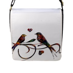 Birds Abstract Exotic Colorful Flap Messenger Bag (l)
