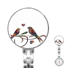 Birds Abstract Exotic Colorful Stainless Steel Nurses Watch
