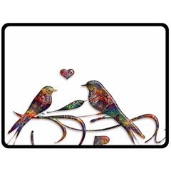 Birds Abstract Exotic Colorful Double Sided Fleece Blanket (large)