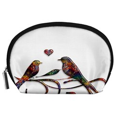 Birds Abstract Exotic Colorful Accessory Pouches (large)