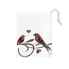 Birds Abstract Exotic Colorful Drawstring Pouches (medium)
