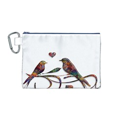 Birds Abstract Exotic Colorful Canvas Cosmetic Bag (M)