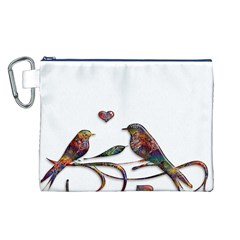 Birds Abstract Exotic Colorful Canvas Cosmetic Bag (L)