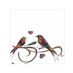 Birds Abstract Exotic Colorful Small Satin Scarf (square)